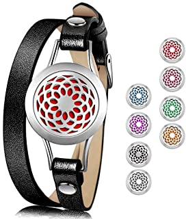 Essential Oil Diffuser Bracelet,Stainless Steel Aromatherapy Locket Bracelets Leather Band with 8 Color Pads,Girls Women Jewelry Gift Set