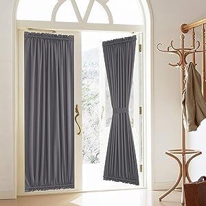 Blackout Door Curtain, Elegance French Door Curtains for Privacy, Thermal Insulated Door Curtain Panels, Room Darkening Door Window Curtain (50