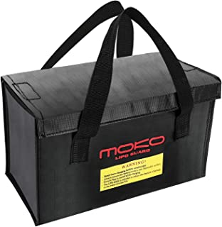 MoKo Fireproof Explosionproof Battery Safe Bag, Storage Guard Safe Sleeve Bag for Lipo Battery Storage and Charging, Hook & Loop Closure for Maximum Protection - Black