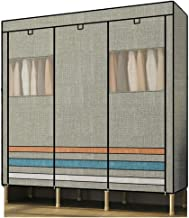 Portable Wardrobe Portable Clothes Closet Wardrobe Storage Double Rod Freestanding Closet Quick and Easy to Assembl Clothi...