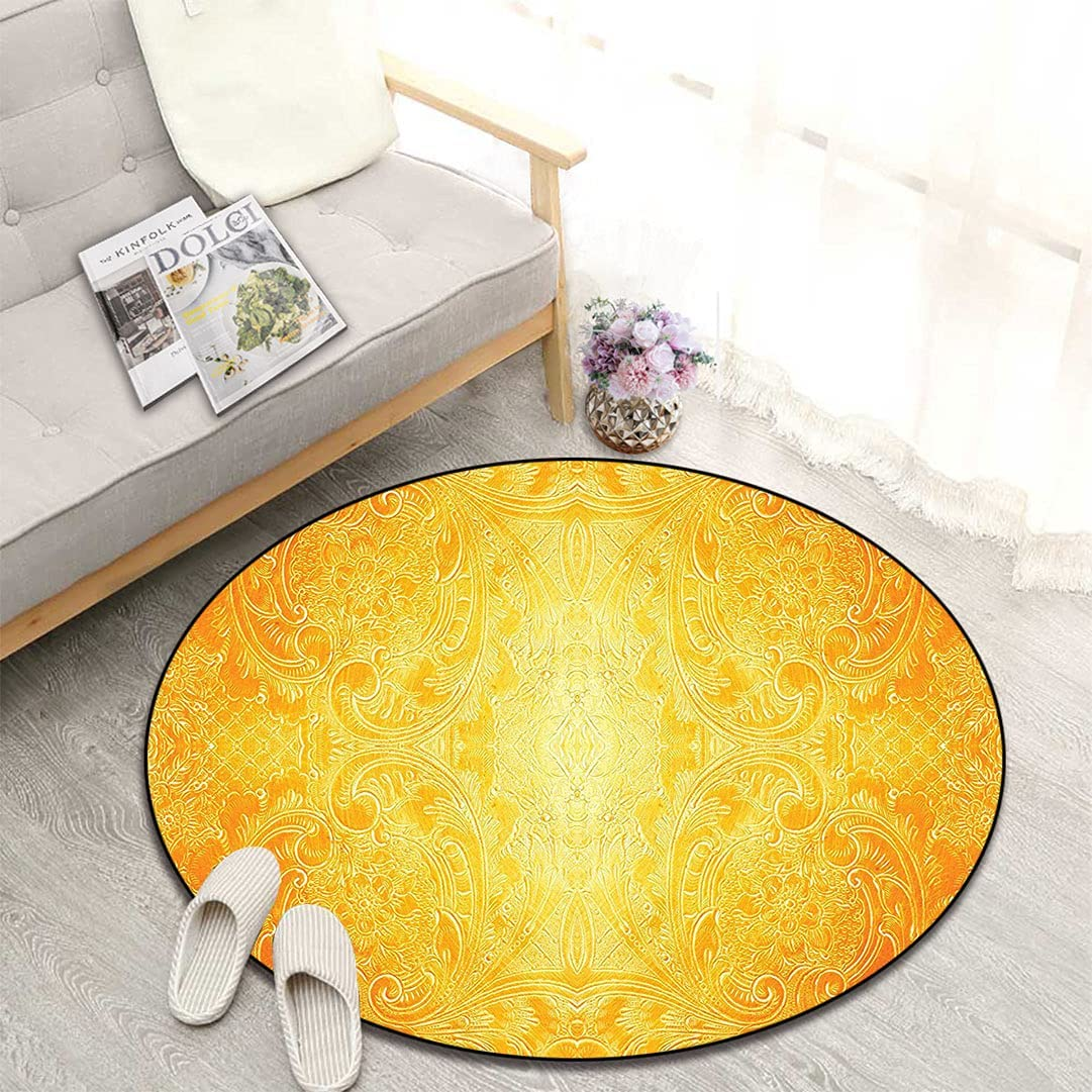 Yellow Decor Round Max 57% OFF Floor Factory outlet Mat Patte Antique Style Victorian Metal