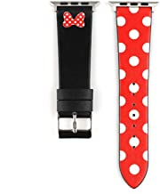 Lovely Polka Dot Leather Women Girls Replacement Band Compatible with Apple Watch Series 4 44mm and Series 3/2/ 1 42mm - Black & Red Bowknot
