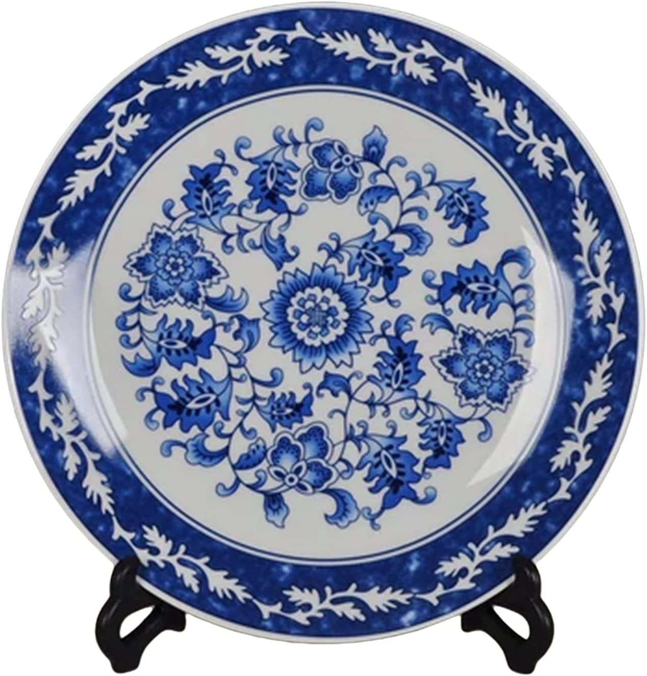 jdzjybqx Decorative Plates Blue and White Porcelain Plate of 10'' Oriental Floral Pattern Ceramic Craft for Decorative Ornaments Dessert Plates, 1 Plate with 1 Display Stand