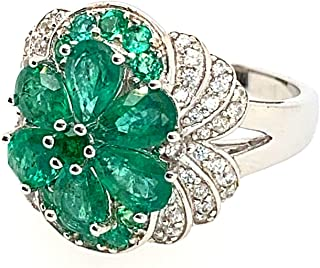 925 Silver 2.79 Carat Natural Emerald & 0.54 Carat Round-Shape White Zircon Gorgeous Ring for Women