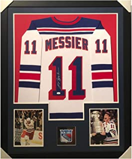 Signed Mark Messier Jersey - Framed Vertical Layout Pro Edition White JS - Autographed NHL Jerseys