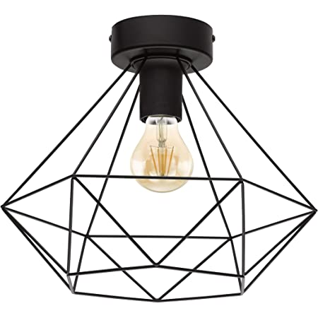EGLO Lampe de plafond TARBES, plafonnier à flamme vintage au look rétro, matériau : acier, couleur : noir, douille : E27