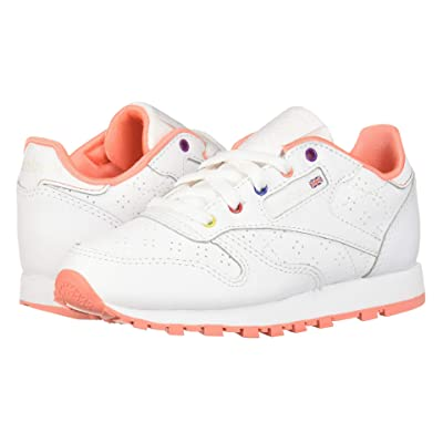 Reebok Kids Classic Leather Perf (Little Kid) (White/Pink/Teal/Aubergine) Girls Shoes