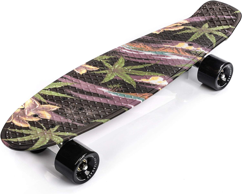22 in Mini Cruiser Plastic Board Perfect Complete Board Vintage Skateboards Perfect Kids Boys Girls Skateboard Retro 56 cm