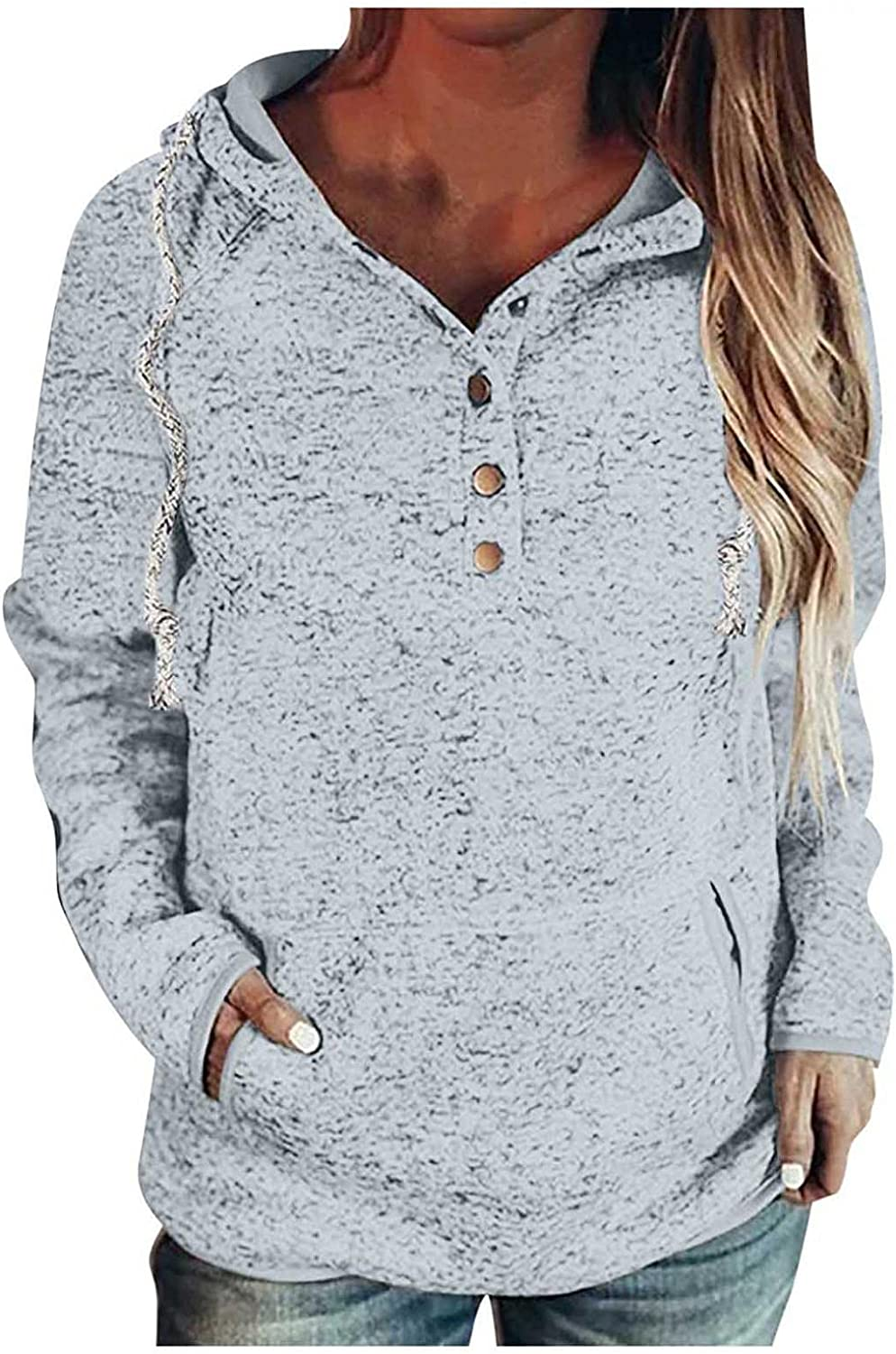 Womens Button Collar Drawstring Stitching Sweatshirts Hoodies Pullover, Loose Casual Long Sleeve Tops Jumper Sweaters