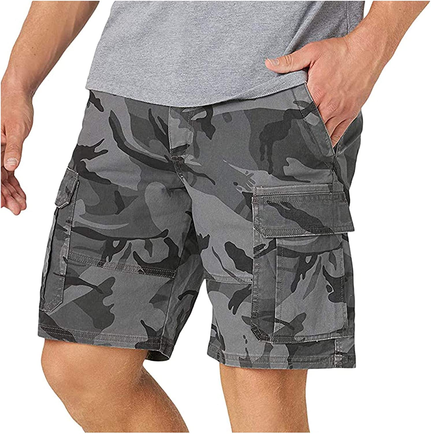 WUAI-Men Outdoors Cargo Shorts Relaxed Fit Multi-Pockets Outdoors Stretchy Twill Cotton Summer Beach Camo Shorts