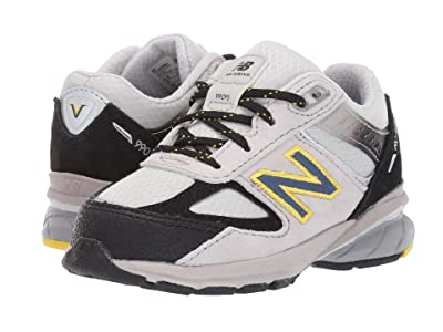 New Balance Kids 990v5 (Infant/Toddler) (White/Black/Yellow) Boys Shoes