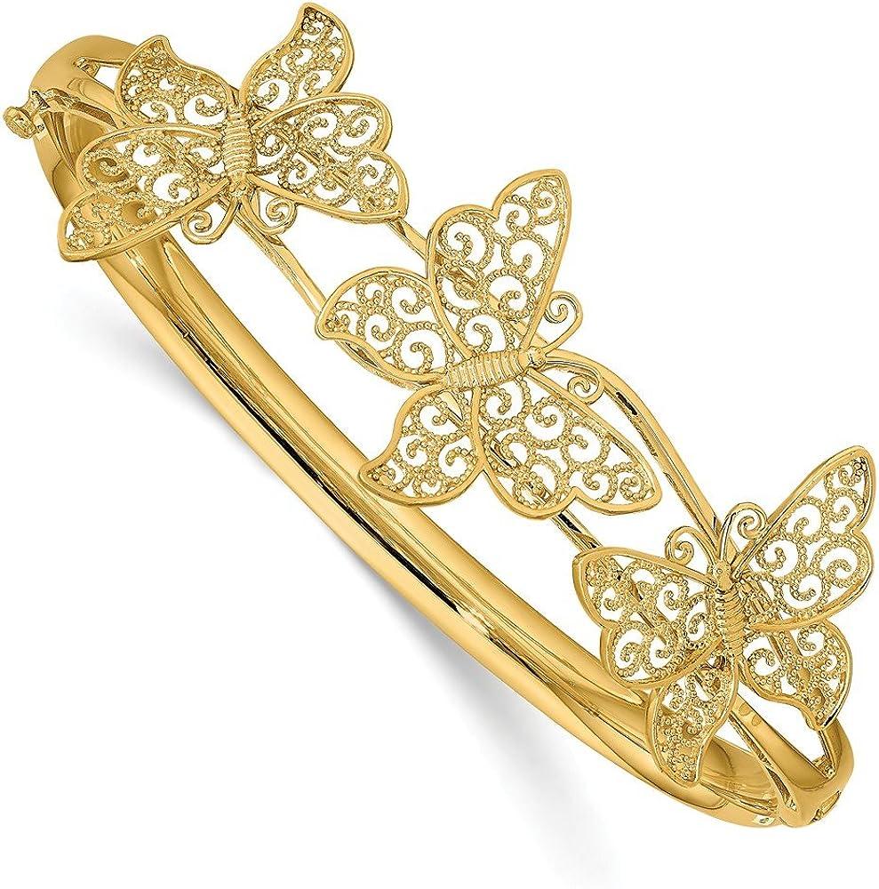 14k Yellow Gold Filgree Butterfly Hinged Bangle Bracelet Cuff Ex