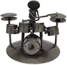 NOVICA 241236 Rustic Drummer' Upcycled auto Parts Statuette