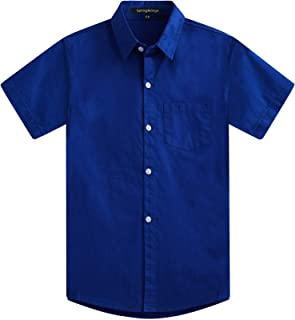 Spring&Gege Boys' Short Sleeve Solid Formal Cotton Twill Dress Shirts