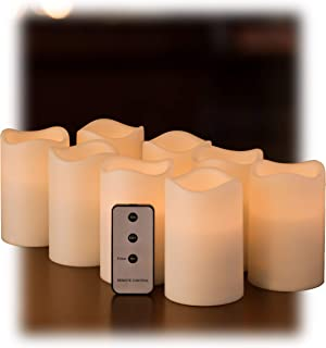 Set of 8 Outdoor 3x4 Waterproof Flickering Resin Candles with Timer and Remote and C Batteries Included