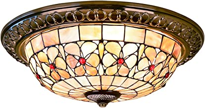 Tiffany Style Ceiling Lights French Pastoral Flush Mount Ceiling Lamp Natural Shell Floral Art Ceiling Lighting Fixture fo...