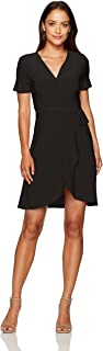 Women's Petite Short Sleeve Fauxwrap Ballerina Dress