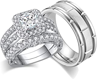 Ahloe Jewelry 3.5Ct Couple Rings Sterling Silver Wedding Ring Sets for Him and Her Women Men Titanium Stainless Steel Band...