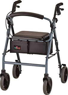 "NOVA Zoom Rollator Walker with 24"" Seat Height, Blue"