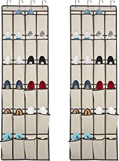 Over the Door Shoe Organizer, 2 Pack Laigoo Hanging Shoe organizer with 24 Large Fabric Pockets, with 4 Hooks Shoe Storage...