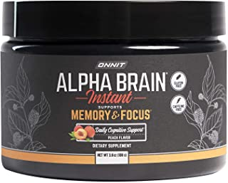 ONNIT Alpha Brain Instant - Natural Peach Flavor - Nootropic Brain Booster Memory Supplement - Brain Support for Focus, En...