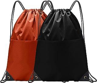 Drawstring Backpack Bulk String Bag Gym Sack Sports Sackpack with Zipper for Men Women (Black&Orange, 2PCS)