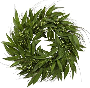 K&K Interiors 13774C 30 Inch Green Berry W/Willow Leaves Wreath