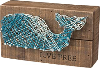 Primitives by Kathy String Art Box Sign, 3.5 x 6, Whale-Live Free
