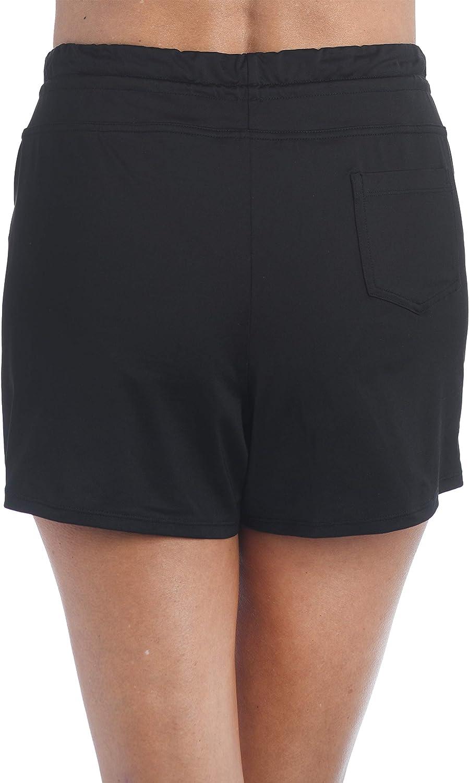 24th & Ocean Women's Solid Front Tie Swim Short Bikini Swimsuit Bottom