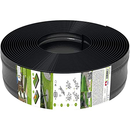 AMISPOL 25 Mètres Bordure de Gazon en Plastique 125/4 mm de Bordures de Pelouse - Flexible Bordure de Jardin, Bordure de Pelouse Flexible, Pliable Garden Lawn, Idées de Jardin, Jardin Conception