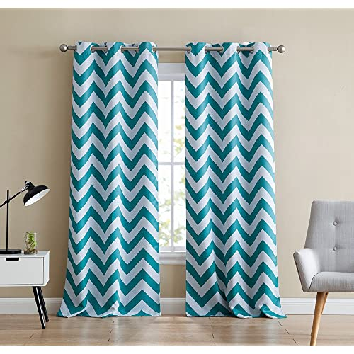 """Turquoise Chevron Print 55/"""" Wide Thermal Blackout Window Grommet Curtain Panel"""