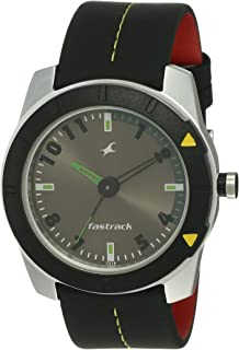Fastrack Essentials Men's Anthracite Dial Leather Band Watch - T3015AL02