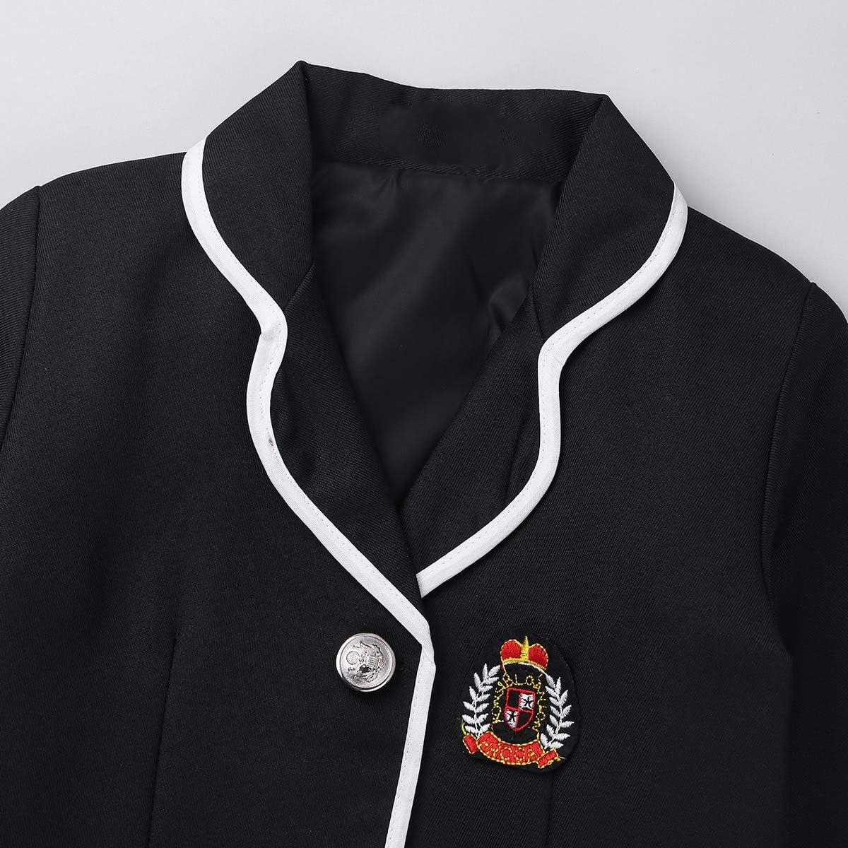 JEEYJOO Kids Girls Anime Cosplay Costume Outfits Long Sleeve Jacket with Shirt Tie Plaid Skirt Set School Uniform