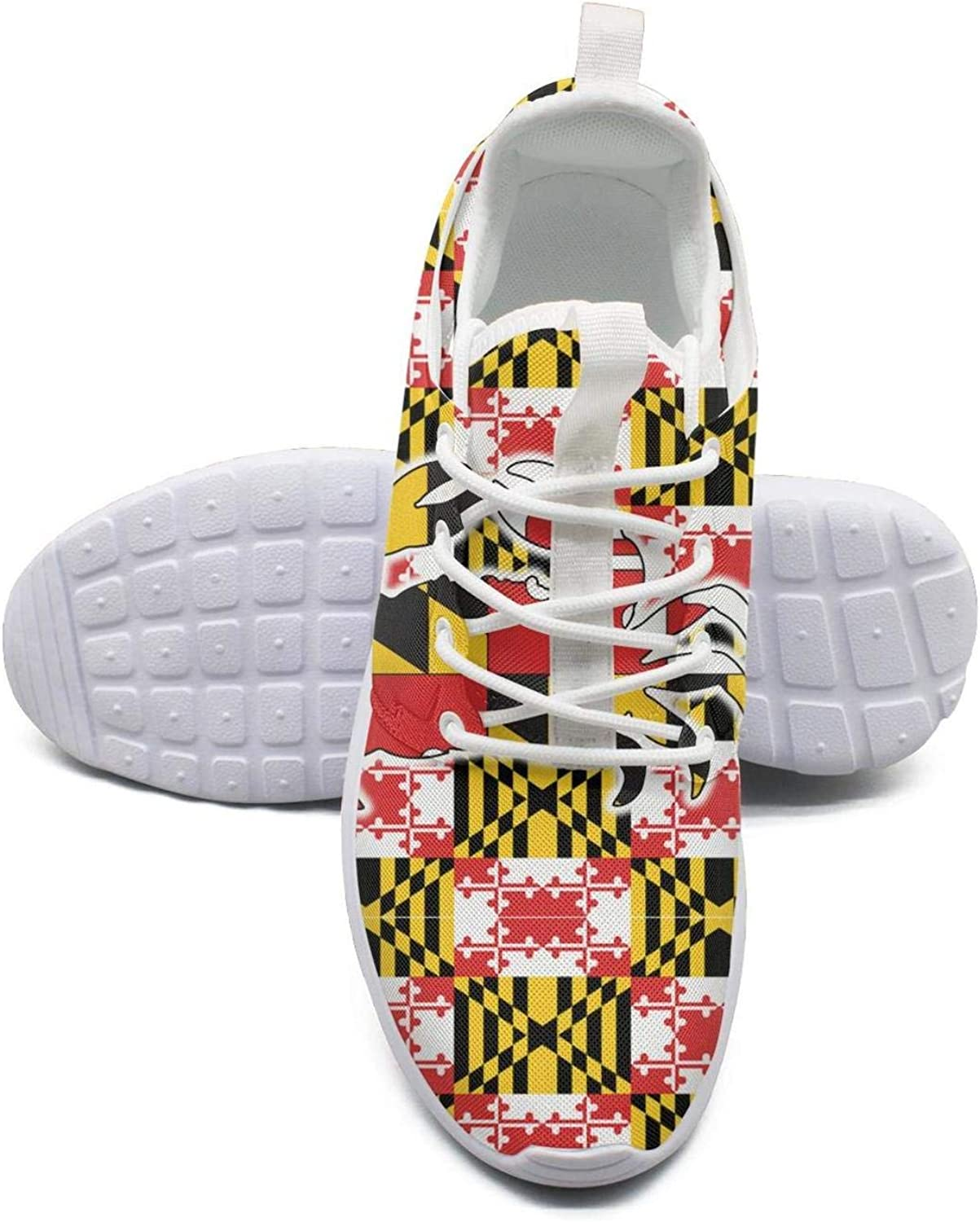 Gjsonmv Yellow Maryland Garden Flag mesh Lightweight shoes Women lace up Sports Volleyball Sneakers shoes