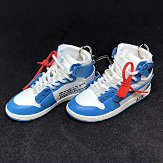 Pair Air Jordan 1 I High Retro Off White UNC Blue OG Sneakers Shoes 3D Keychain Figure