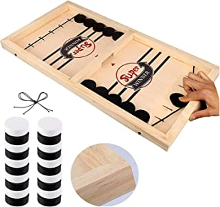 Fast Sling Puck Game, Table Desktop Battle Ice Hockey Game/Winner Board Chess Games for Adults and Kids (22x11.8x1.5in)
