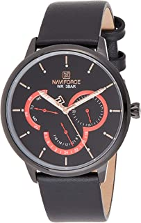 Naviforce Men's Black Dial Genuine Leather Analogue Classic Watch - NF3011-BBB