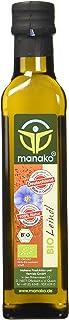 Manako Bio aceite de linaza human, prensado en frío, 100% puro, 2 botellas de vidrio de 250 ml (2 x 0,25 l)