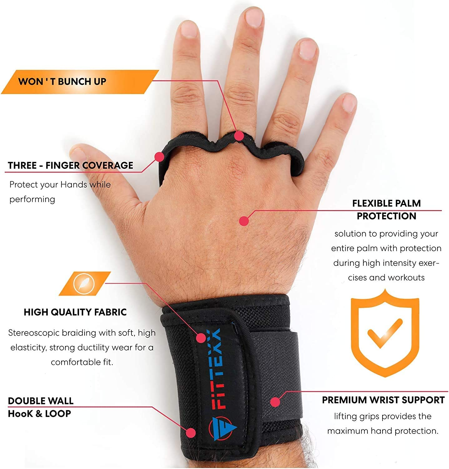 FITTEXX Workout Hand Grips Weightlifting Gloves for Men and Women Cross Training and Gymnastics Protection Gloves Blister Hand Protection 3-Finger Coverage Durable Comfortable
