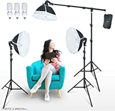 LINCO Lincostore Photography Studio Lighting Kit Arm for Video Continuous Lighting Shadow Boom Box Lights Set Headlight Softbox Setup with Daylight Bulbs AM262