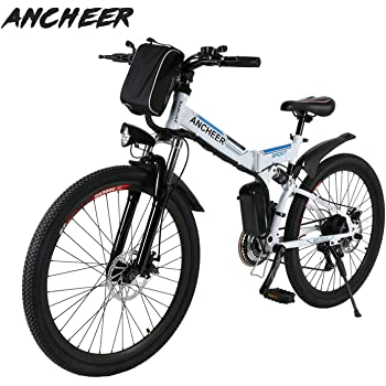 Ancheer Bicicleta Eléctrica de Montaña Bicicleta Eléctrica de 26 Pulgadas Plegable con Batería de Litio (36V 250W) 21 Velocidades de Suspensión Completa Premium y Equipo Shimano (Blanco Plegable): Amazon.es: Deportes y aire
