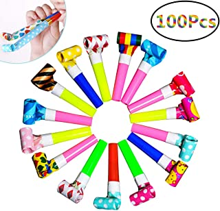 Musical Blow Outs, 100 Pcs Multicolor Horns Noisemakers Blowouts, New Years Party Noisemakers Favors, Party Blowouts Whistles for Kids- Assorted Colors
