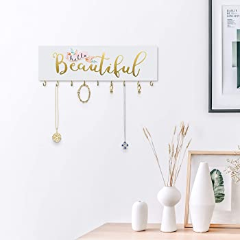 SANY DAYO HOME Jewelry Organizer Wall Mounted Modern Wooden Holder with 9 Metal Hooks for Necklaces, Rings, Earrings,...