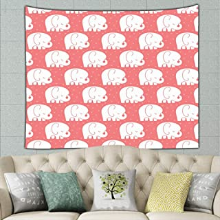 Mod Baby Elephantscoral Animals Wildlife Tapestry Wall Tapestry Bohemian Wall Hanging Tapestries Wall Blanket Wall Art Wall Decor Beach Tapestry Tapestry Wall Decor 60 X 51 Inches