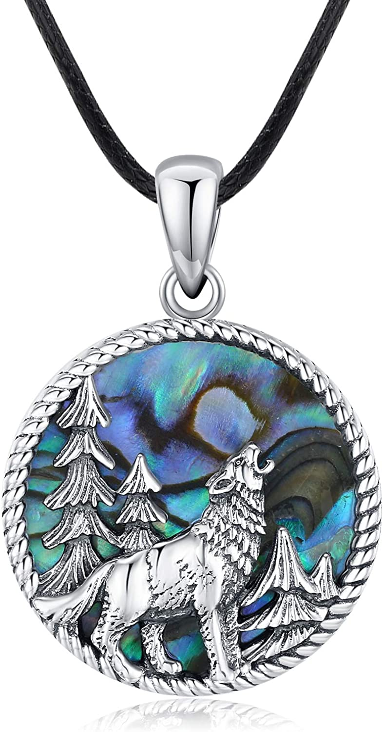 Credence Abalone Shell Wolf Necklace for Women The National uniform free shipping Sterling 925 Silver Wi