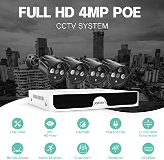 JOOAN 4MP HD POE Home Security Camera System 1440P IP CCTV Outdoor Camera Monitor Complete Surveillance Network Camera System Home Video Bullet Camera with 8CH NVR