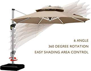 PURPLE LEAF 11 Feet Double Top Deluxe Solar Powered LED Round Patio Umbrella Offset Hanging Umbrella Outdoor Market Umbrella Garden Umbrella, Beige