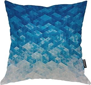 Moslion Blue Pillow Case Gradient Blue Geometric Triangle Diamond Cube Mosaic Throw Pillow Cover 18x18 Inch Cotton Linen Decorative Square Cushion Cover Sofa Bed