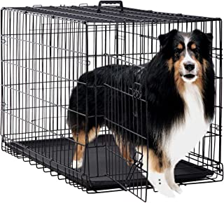 Dog Crate Kennel Pet Cage for Large Medium Dogs Travel Metal Double-Door Folding Indoor Outdoor Puppy Playpen with Divider and Handle Plastic Tray,48 42 36 30 24 inches