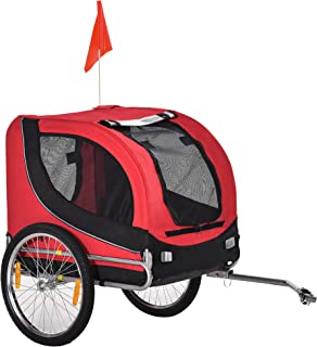 Aosom Dog Bike Trailer Foldable Pet Cart Bicycle Wagon Cargo Carrier Attachment for Travel with Safety Leash Red